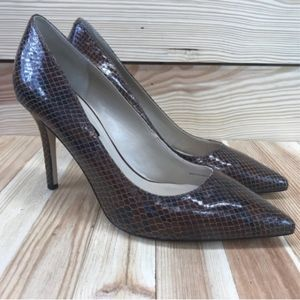 WHBM Pumps 6.5 Brown Snake High Heels Pointy Toe